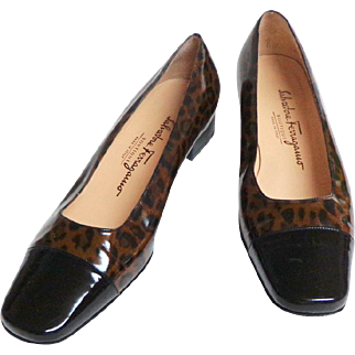 FERRAGAMO  Italian Designer Shoes.  Leopard Pattern with Black Toes.  Patent Leather.  Size 8 B.  Near Mint Condition.