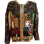 LAWRENCE KAZAR Work of Art.  Beaded Jacket.  City Scene.  Near Mint Condition.