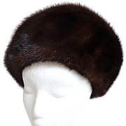 Canadian Mink Hat. Glamorous High Front.  Large. Natural Brown.  Super Quality.  Mint Condition.