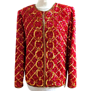 Draper's & Damon's  Gold and Red All Over Beaded and Sequinned Red Silk Jacket.  Super Gorgeous.  MWT Unworn Condition.