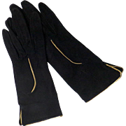 Black Suede Gloves with Gold Piping.  Quintessential 1940's Movie Attire.  Wonderful.