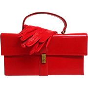 1960's Genuine Leather Red Box Purse and Matching Kid Gloves.  Mint Condition.