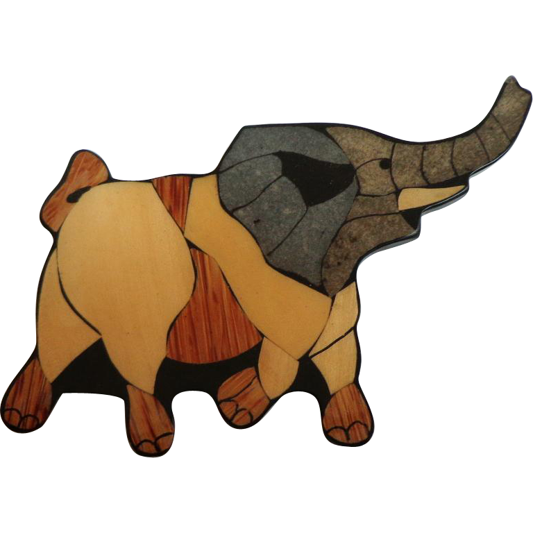 """Elephant Brooch. 4 ½"""" Wide."""