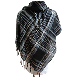 Black, White & Silver Fringed Scarf.  Plaid.  As New Condition.