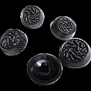 5 Bakelite Buttons.  Very, very Dark Gray/Black.  Large.