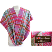 Made in Scotland. 100% Cashmere Plaid  Scarf.  Multi-colored. Rose, Pink, Brown, Blue.   As New Condition.