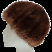 Rich Chestnut Brown Mink Cloche Style Hat.  Mint Condition.