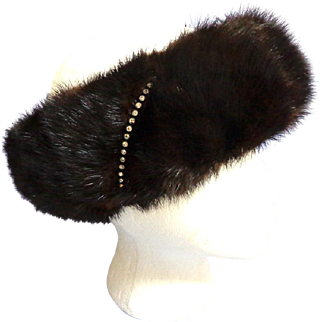 Mink and Rhinestone Headband.  Dark, dark, chocolate brown.  Adjustable.  Super Luxurious.  As New.