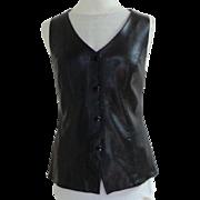 DANIER Genuine Leather Vest.  Black. Top Quality.  Mint Condition.