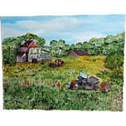 Oil on Canvas Painting.  Primitive Realism.  Signed John Hyland.  Charming.
