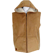 RALPH LAUREN Sleeveless Hooded Vest.  Hoodie Style. Faux Sheepskin.  Tan & Cream. As New Condition.