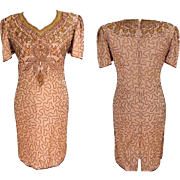 Beaded All Over Silk Dress.  Stunning. Sheath. Brown. Quality ++. As New Condition.