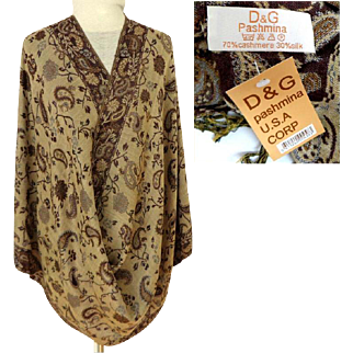 D & G Pashmina.  70% Cashmere  30% Silk.  Reversible.  Browns, Taupe, Blue Paisley Florals.  As New Condition with Tags.