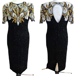 Black Beaded All Over Dress.  Silver and Gold With Pearls, Bugle Beads & Sequins.  Size Large.  Mint Condition.  Super Gorgeous.
