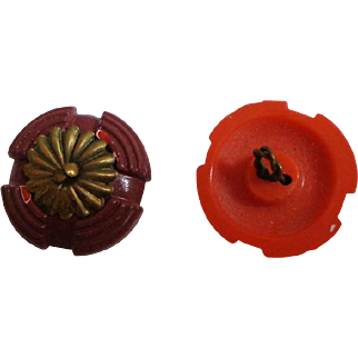 2 Early Bakelite 3 Piece Buttons.  Twisted Wire Shanks. Painted Terracotta and Orange. Brass Toned Metal Centers.