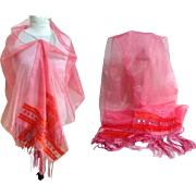 Pashmina / Shawl / Scarf. Indian Design Motifs.  Sheer Pink & Orange with Mirrors.  As New Condition.