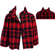 BRIGGS NEW YORK Blazer / Jacket.  Red & Black Plaid.  Super  Smart.  Lined.  As New Condition.