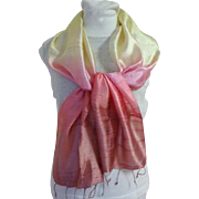 100% Silk Scarf.  Lemon, Mauve & Rose Blended.  Exquisite.