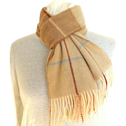 Cashmere and Wool Scarf.  Cream and Baize.  As New Condition.