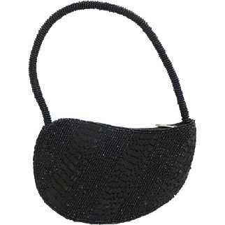 Teardrop Shaped, Black, Beaded All Over, Evening Purse.  As New Condition.