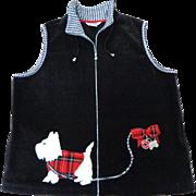 Scottie Dog Arctic Fleece Black Vest.  Size L.  Adorable. Perfect Condition.