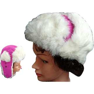 Mad Bomber Hat.  Genuine White Rabbit Fur.  Rose.  M Size. As New Condition.