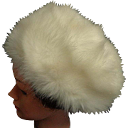 GALERIES LAFAYETTE PARIS. Faux Fur Large, Gorgeous Pillbox Style Hat. Pale Cream.  As New Condition.