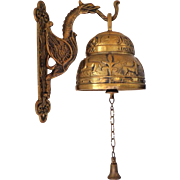 German. Wall Mounted. Decorated. Large Brass Bell.  Mint Condition.