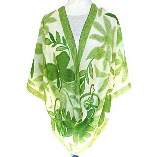 100% Silk Costa Blanca Scarf.  Frothy Spring Green.  Large.  As New Condition.