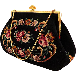 Handmade Needlepoint Purse.  Black with Floral Scrolls.  As New Condition.