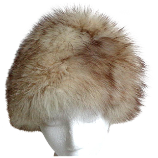 Genuine Canadian Silver Fox Fur Toque.  Very High Crown.  Super Luxurious.  As New Condition.