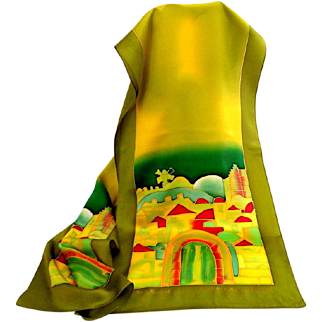 JERUSALEM Artist.  Batik 100% Silk Scarf.  Beautiful Graphic.  As New Condition.