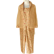 Exquisite RAFAEL 3 Piece Embroidered, Beaded Silk Outfit.  Camisole Top, Jacket & Pants.  Golden Sand Color.  Perfect Condition.