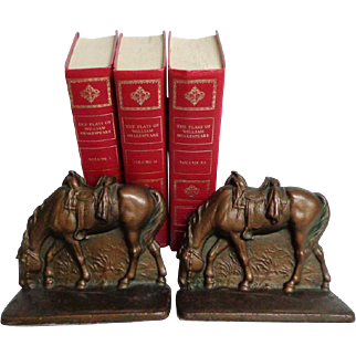Bronze Bookends.  Saddled, Riderless Western Horses.  Perfect Condition.