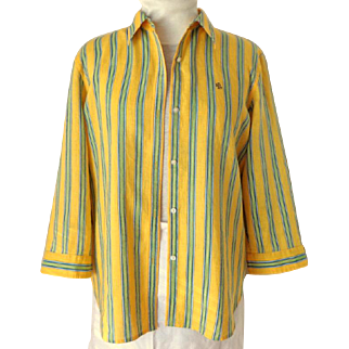 RALPH LAUREN 100% Linen Blouse.  Size XL.  Yellow with Blue & Green Stripes.  Perfect Condition.