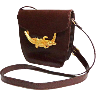 Genuine Leather. Crossbody Purse.  Gold Toned Alligator Decoration.  Polished Brown Calf.  AS NEW Condition.