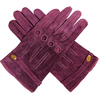 SHIRAI Ladies Driving Gloves.  Deep Lavender Suede Leather.  As New Unworn Condition.
