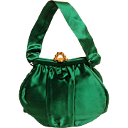 SAKS FIFTH AVENUE Magid Green Satin Evening Purse.  Quality ++. Elegant.  Circa 1940.  As New Perfect Condition.