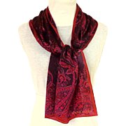 100% Silk ANNE KLEIN Rectangular Scarf.  Wine Paisley.  As New Condition.