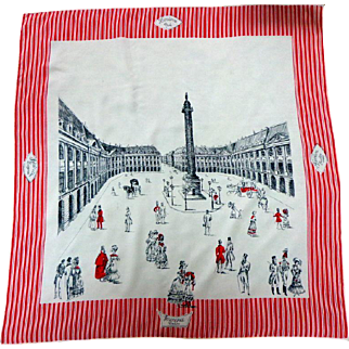 100% Silk Twill French Scarf.  PLACE VENDOME Paris. Work of Art.  Super Gorgeous.