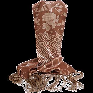 100% Silk. Marks & Spencer Beaded Fringe Scarf. Gorgeous.  MWT. Never Used.