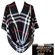 100% Pashmina.  Black, White, Red Plaid.  Elegant Quality.  As New Condition.