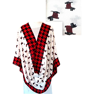 Scottie Dog Pashmina. Charming.  Red, Black, White.  As New Condition.