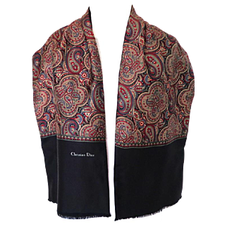 CHRISTIAN DIOR Men's Scarf / Muffler.  Wine Paisley Patterned Silk and Black Wool.  Elegant. As New Condition.