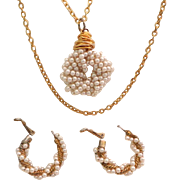 Faux Pearl Pendant Necklace &  Hoop Earrings.  Long Gold Tone Chain.  Mint Condition.