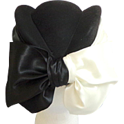 Black and White Satin Bows & Sides Ladies Hat.  Super Elegant Quality. 1990's ANDRE of Montreal.  As New Condition.