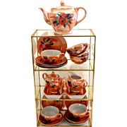 Peach Lustre Ware Child's Tea Set.  Charming.