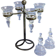 German, Mid-century Modern, Heavy, Hand Hammered, Cast Iron Candelabra with Crystal Holders.   2 Extra Crystal Holders.  Quality++.   Rare.  Mint Condition.