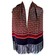 100% Silk Men's Scarf / Muffler.  Fringed Navy with Wine and Gold. Quality +. Elegant. As New Condition.
