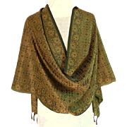 Olive Green Paisley Patterned  Large Silk Pashmina / Scarf / Shawl.  Super Gorgeous.